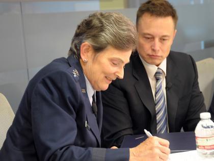 Lt. Gen. Ellen Pawlikowski and Elon Musk sign CRADA Credit : Space Missile Center